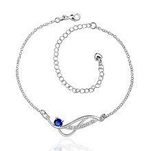 Серебряные браслеты с Австрийской кристально голубой классический шарм ювелирных изделий для женщин hot простой дикий стиль высокое качество