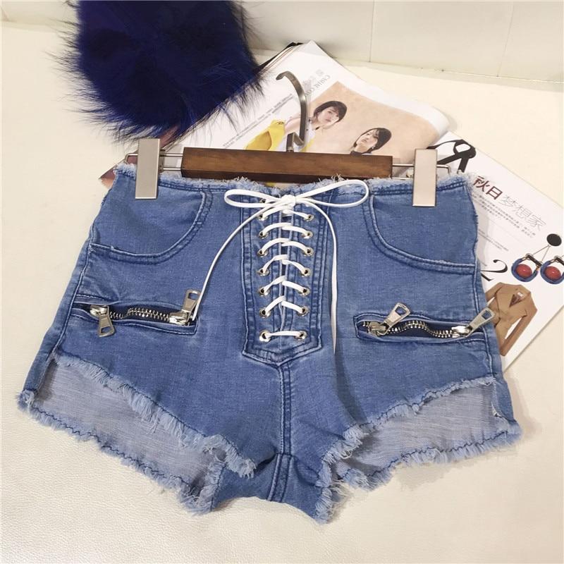 2018 Summer Hot Sale Cross Lace Up pantalones cortos de mezclilla - Ropa de mujer