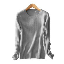Women's pure cashmere knitting pullover classical long sleeves O neck autumn and winter solid color casual warm sweater