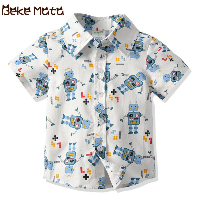 Cartoon Kids Boys Shirts Short Sleeve Baby Boy Shirt 2019 Summer Robot Print Toddler Shirt Cotton Childrens Clothes For 1-6 YCartoon Kids Boys Shirts Short Sleeve Baby Boy Shirt 2019 Summer Robot Print Toddler Shirt Cotton Childrens Clothes For 1-6 Y