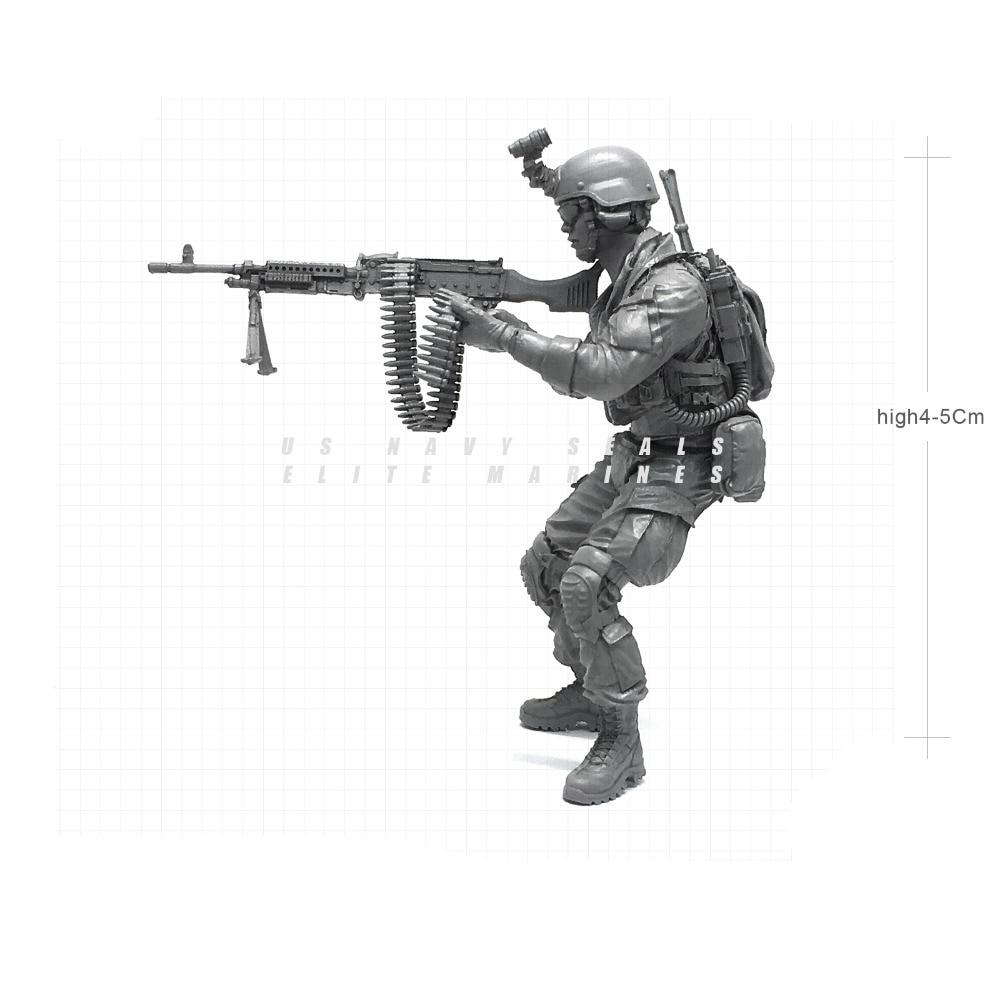1/35 Modern U.S Navy Seals Elite Marines Machine Gunner C Military Soldier Resin Model Figure NAI-20