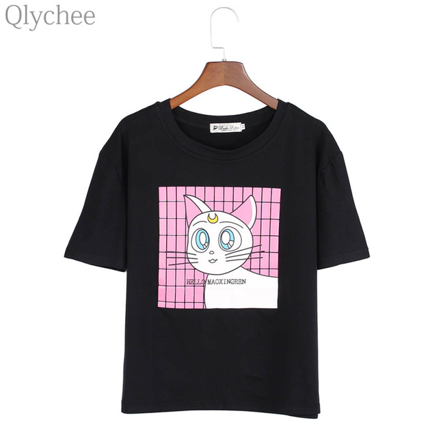 Qlychee Harajuku Summer Black Women T shirt Sailor Moon Luna Cat Print Short Sleeve Tee Top O Neck T-shirt for Women