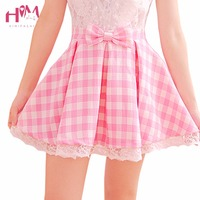 Women Kawaii Bow Short Skirt Japanese Soft Sister Cute Lace Skirts Lolita Style Pink White Plaid