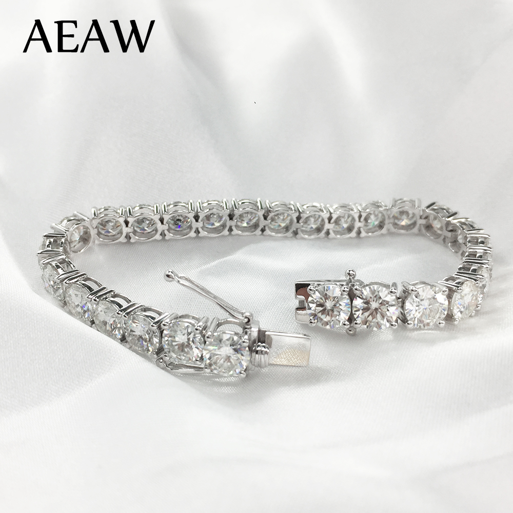 AEAW Platinum Plated Silver 12 4CTW 19CM Length 4mm F Near Colorless Moissanite Tennis Bracelet for