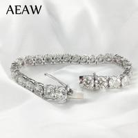 AEAW платиновым покрытием серебра 12.4CTW 19 см Длина 4 мм F почти бесцветная Муассанит теннисный браслет для Для женщин