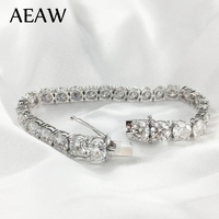 AEAW Platinum Plated Silver 12.4CTW 19CM Length 4mm F Near Colorless Moissanite Tennis Bracelet for Women