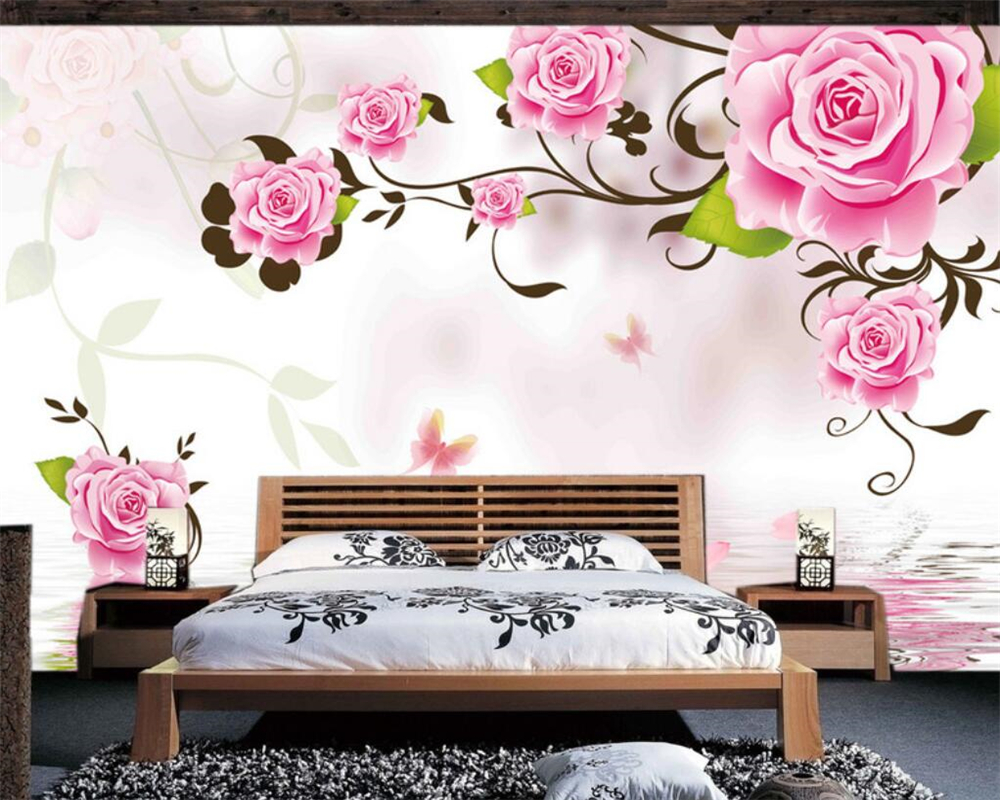 Beibehang Custom wallpaper fantasy roses reflection minimalist modern wall living room bedroom background murals 3d wallpaper