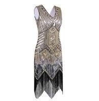 Great Gatsby Dress Women Sequins V Dress Neck Beaded Sequins Art Deco Damper Dress 1920 S