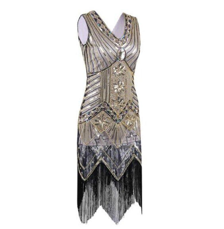 Great Gatsby Dress Women Sequins Dress V Neck Tassels Beaded Party Dress 1920 S Vintage Ballroom