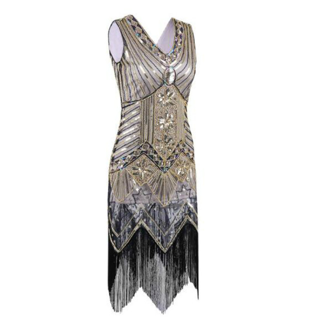 Great Gatsby Dress Women Sequins Dress V Neck tassels Beaded Party Dress  1920 s Vintage Ballroom Gold Dresses Sexy Club-in Dresses from Women s  Clothing on ... ad397ec3b849