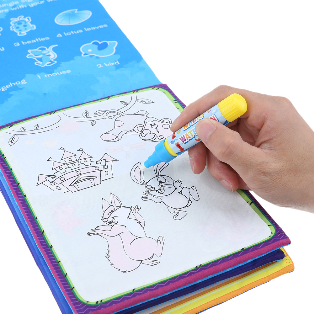 Kids Magic Water Drawing Book Animals Painting Water Coloring Cloth Book Painting Board Children Drawing Early Educational Toy