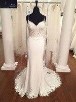 Top Quality V Neck Mermaid Wedding Dresses Lace Appliques Chiffon Boho Wedding Dress Backless Sexy robe de mariee 2018