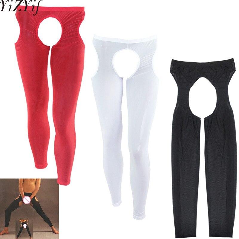 YiZYiF Sexy Mens Erotic Open Crotch Buttock Sheer & Transparent Leggings Hot Pants Lingerie Gay Fetish Mesh Nightwear Underwear
