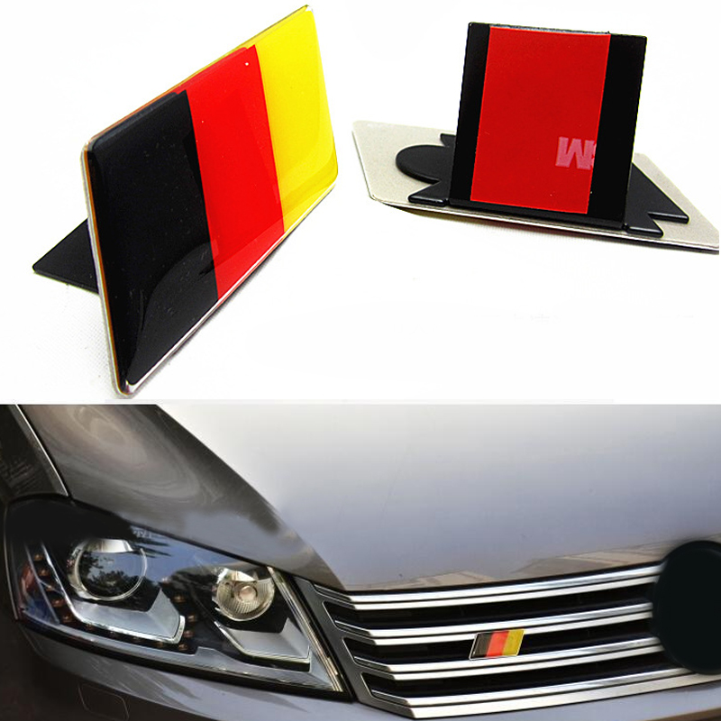1pc German Flag Grille Emblem Badge for Volkswagen Scirocco GOLF 7 Golf 6 Polo GTI VW Tiguan for Audi A4 A6 Car Accessories