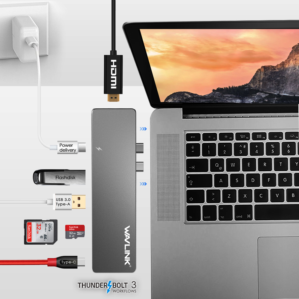 Wavlink Thunderbolt 3 USB-C Hub Adapter Type C T3 Aluminum Hub w/ SD/Micro SD Card Reader 4K HDMI for MacBook Pro Thunderbolt 3 ifound 8800mah dual usb mobile power source w sd card reader led flashlight golden