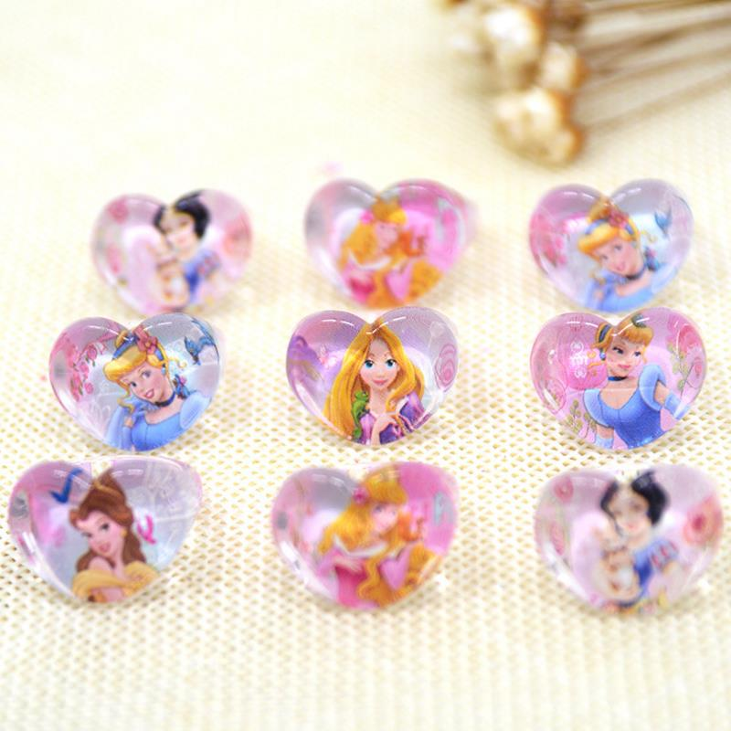 10pcs/set new cute Cinderella Snow White Princess Crystal Acrylic Kids Finger Rings Party Costume Birthday Party Favors Gifts