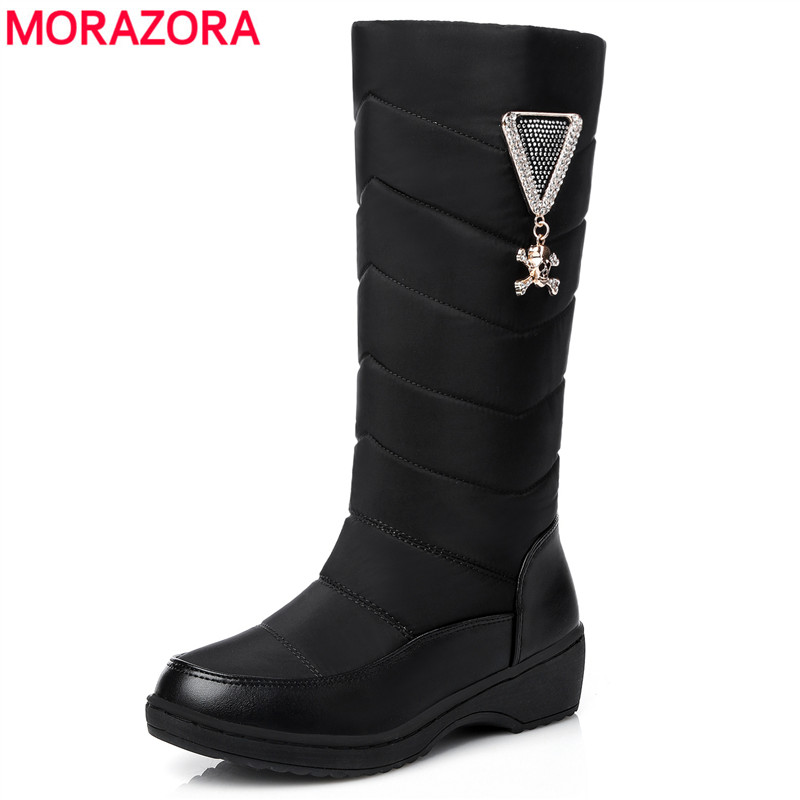 MORAZORA Plus size 35-44 Women boots thick fur warm snow boots winter down mid calf boots rhinestone platform waterproof shoes