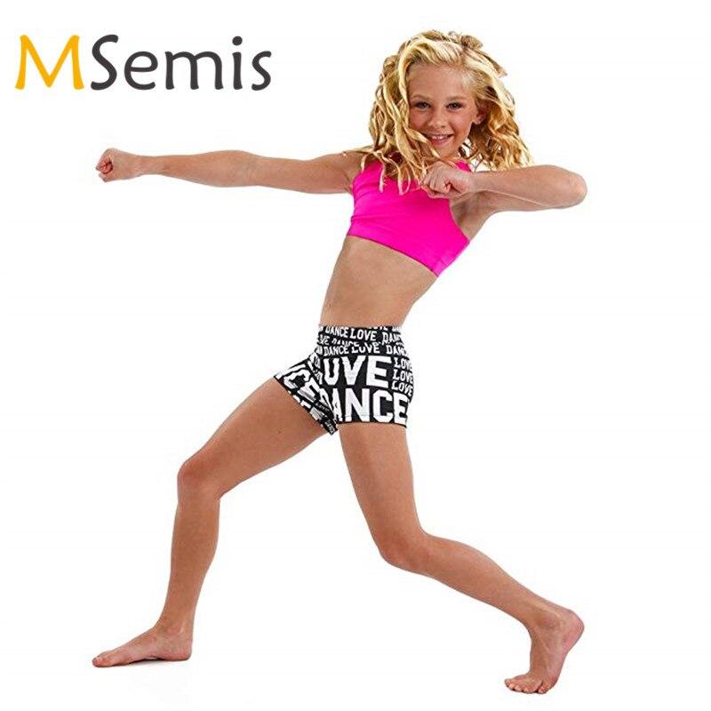 2 Stks Kids Meisjes Ballet Dancewear Tankini Outfit Tank Top Met Letters Gedrukt Bodems Set Voor Ballet Gymnastiek Turnpakje Voor Meisje