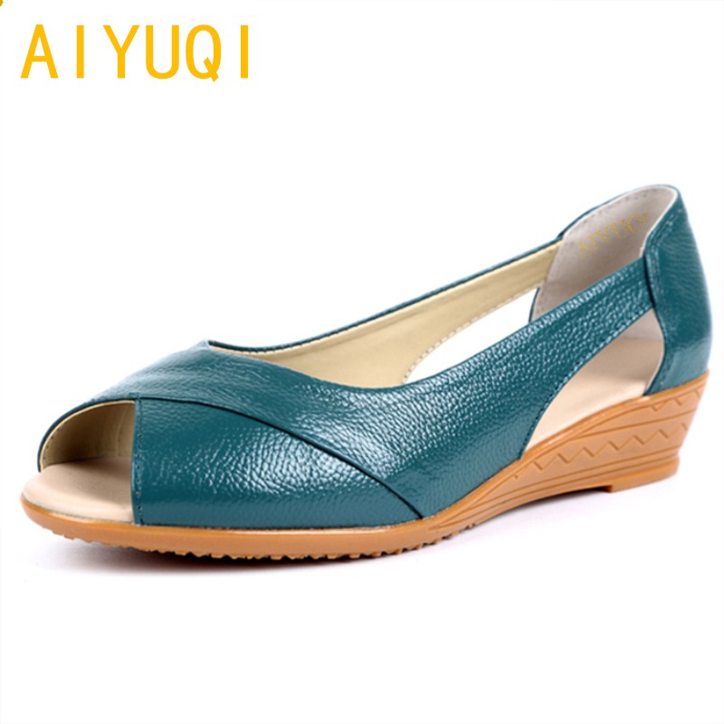 AIYUQI 2018 new summer women's sandals made of genuine leather big size wedges shoe Comfortable open-toed mother sandals female aiyuqi big size women shoe 41 42 43 2018 new women s sandals genuine leather casual comfort wedges open toe roman sandals female