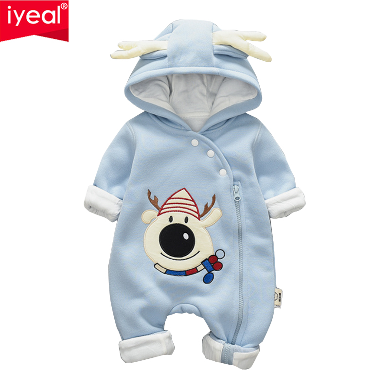 IYEAL Warm Jumpsuit Baby Girl Clothing Fleece Romper Baby Coat Christmas Kids Costumes For Boy Clothes Thick Body Infant Jackets snowmen infant christmas costume baby girl clothes red romper with hat roupas de bebe infant clothing kids christmas outfits