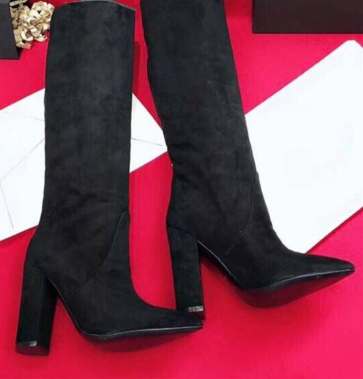 Шикарные женские сапоги из коровьей кожи с острым носком; коллекция года; сезон осень-зима; высокие сапоги из натуральной кожи на высоком каблуке; модные сапоги до колена; EU35-40; BY582 - Цвет: Black suede