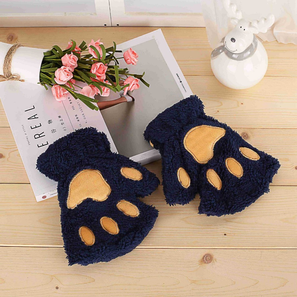 Fluffy Bear/Cat Plush Paw/Claw Glove Soft Toweling Lady's Half Covered Gloves 120pcs/lot