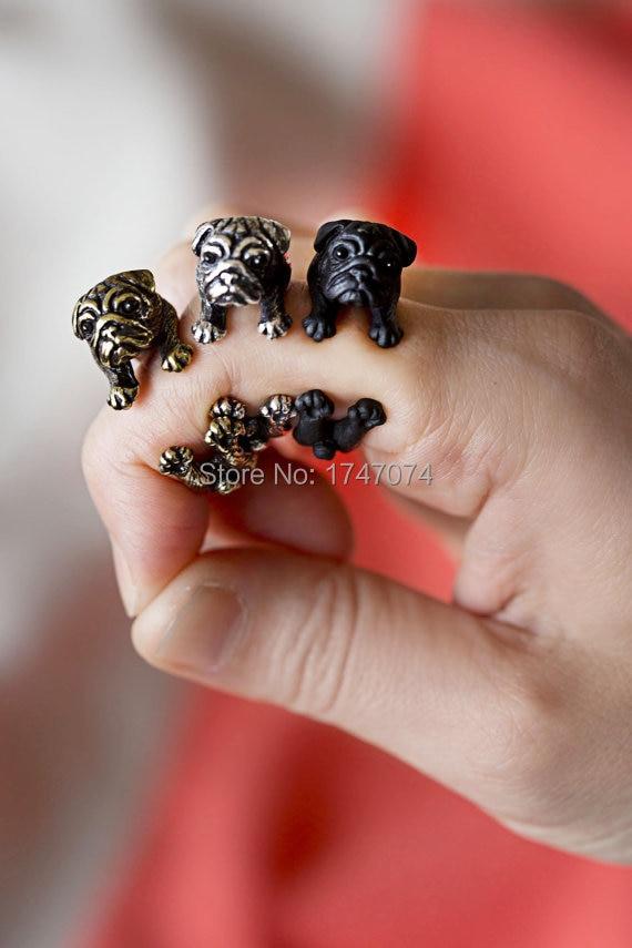 Beautiful Wholesale New 2016 Trendy Vintage French Bulldog Men Rings Animal Fashion Jewelry Nenya French Bulldog Women Rings