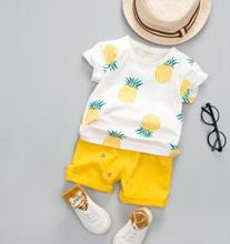 Short-sleeved Children's Suit 2018 Summer Original Kids Clothing New Pineapple Girl T-shirt Shorts Two-piece Set MY-182223 цена
