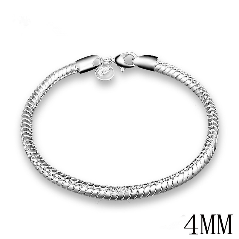 Simple Fashion Punk Stainless Steel Bracelets Silver Plated 3MM & 4MM Link Chain Bracelet Jewelry ZK30 ...