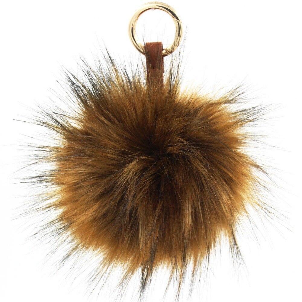 10f49d80d0 Furling 1pc 13cm Faux Raccoon Fur Pom Pom Keychain Bag Charm Gold Ring  Fluffy Fur Ball
