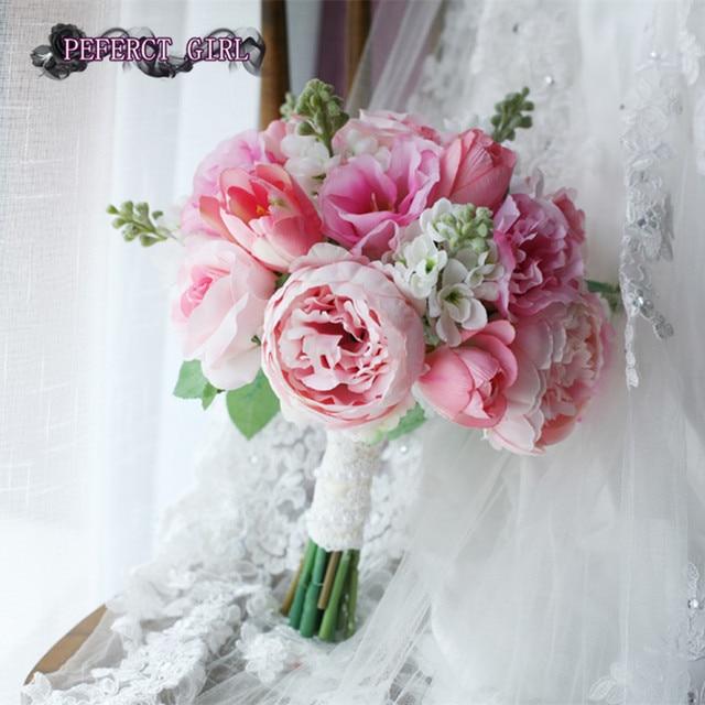 Pink wedding bouquets bridal bouquet bruidsboeket bouquet fleur mariage ramo de novia artificial bouquet