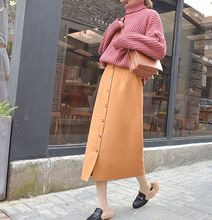 Women Vintage Woolen Pencil Skirt With Pocket Casual High Waist Single-breasted Buttoned Thick Bodycon Midi Skirt 2018 New SK192 corduroy single breasted dual pocket skirt