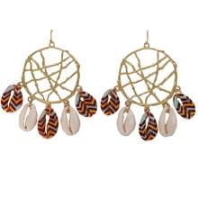 Boho Sea Shell Geometric Jewelry For Women Fashion Round Metal Conch Big Circle Dangle Earring 2019 Female Drop Earrings