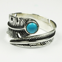 Real Pure 925 Sterling Silver Vintage Rings For Women Feather Ring With Natural Stone Jewelry Adjustable Opening For Men