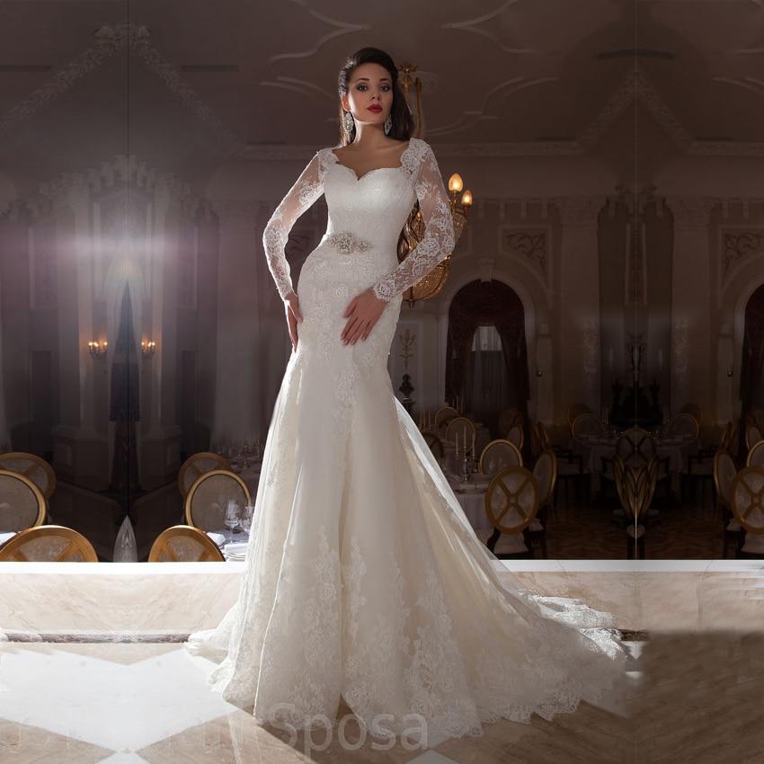 Vestido de noiva sereia vintage lace long sleeve wedding for All lace wedding dress open back