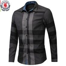Fredd Camiseta Marshall a cuadros para hombre, camisa de manga larga informal, ajustada, de algodón, 100%, 2019