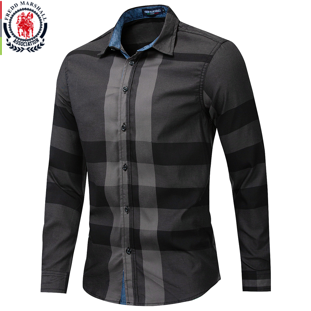 Fredd Marshall Men's Shirt 2019 Summer Fashion Plaid Shirt Men Long Sleeve Casual Slim Fit Shirts 100% Cotton Chemise Homme 199