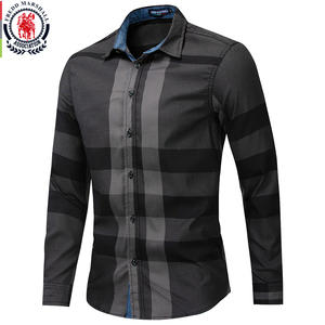 Image 1 - Fredd Marshall Mens Shirt 2019 Summer Fashion Plaid Shirt Men Long Sleeve Casual Slim Fit Shirts 100% Cotton Chemise Homme 199