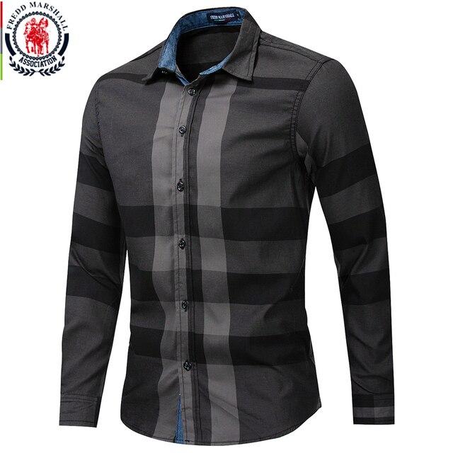 Fredd Marshall Mens Shirt 2019 Summer Fashion Plaid Shirt Men Long Sleeve Casual Slim Fit Shirts 100% Cotton Chemise Homme 199