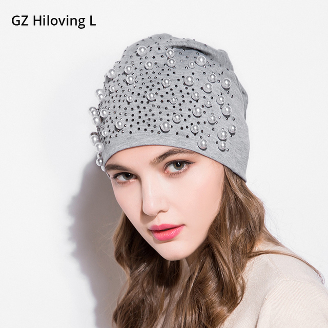 GZHilovingL News Womens Diamonds Hats Autumn Winter Spring Preals Womens  Beanies Hats Soft Casual Polyester Slouch Beanies Hats 228caf0933