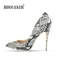 Big Size Women Pumps Sexy Snake Printed Pointed Toe High Heels Shoes Woman 2018 Brand Fashion