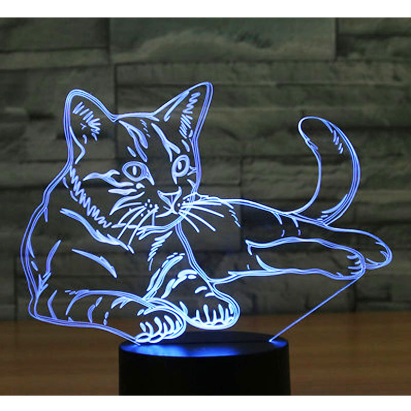 3D LED Night Light Alert Cat with 7 Colors Light for Home Decoration Lamp Amazing Visualization Optical Illusion Awesome