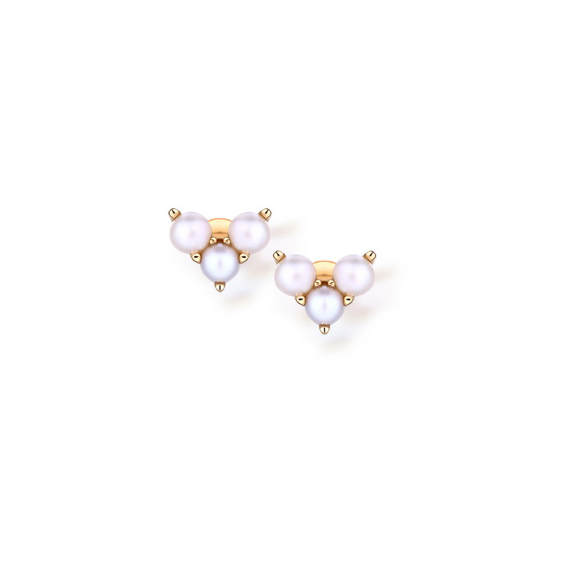JXXGS 14K Gold Women's Earrings Freshwater Pearl Heart Stud Earrings For Girls