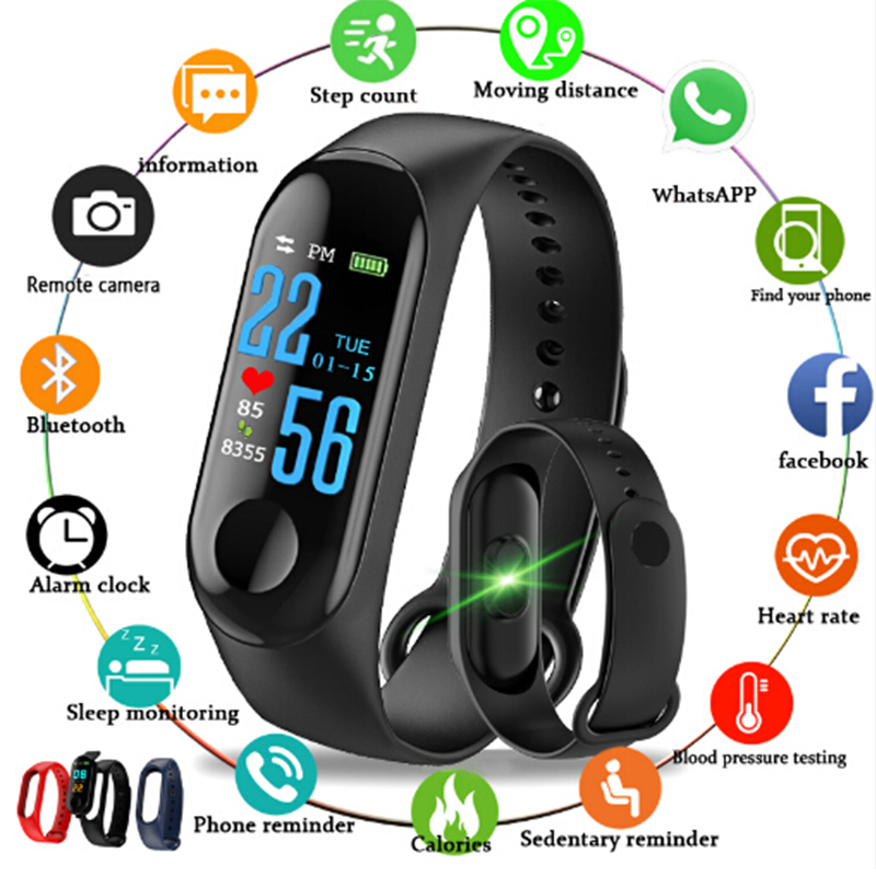 2019 M3 Smart Watch Heart Rate Monitor Fitness Tracker Smartwatch Color Screen Blood Pressure Pedomater PK Xiaomi Mi Band 3 Y5