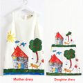 2017 Summer Hot Mother Daughter Dress Hand-painted Family Matching Clothes Mother Daughter Family Clothing Mum Daughter Dresses