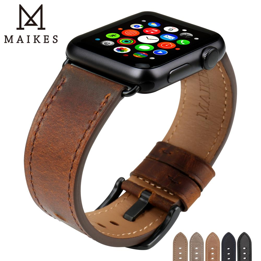 MAIKES Watch Accessories Genuine Leather Dark Brown iwatch Strap 44mm 40mm For Apple Watch Band 42mm 38mm Series 4   1 Bracelets-in Watchbands from Watches