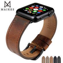 MAIKES bracelet en cuir véritable pour Apple Watch série 4 1, accessoires, brun foncé, iwatch 44mm 40mm, 42mm 38mm