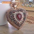 Vintage Flower Love heart Shape Necklace Crystal Resin Turkish Antique Gold Plated Pocket Watch Sweater Pendant Necklaces Bijoux