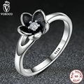 VOROCO 2016 New Collection Mystic Floral Flower Stackable Black Ring CZ & Black Enamel 925 Sterling Silver Jewelry P7154