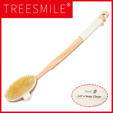 2 In 1 Removable long-handled wooden natural bristle brush bath massager Baby Shower bathroom accessories